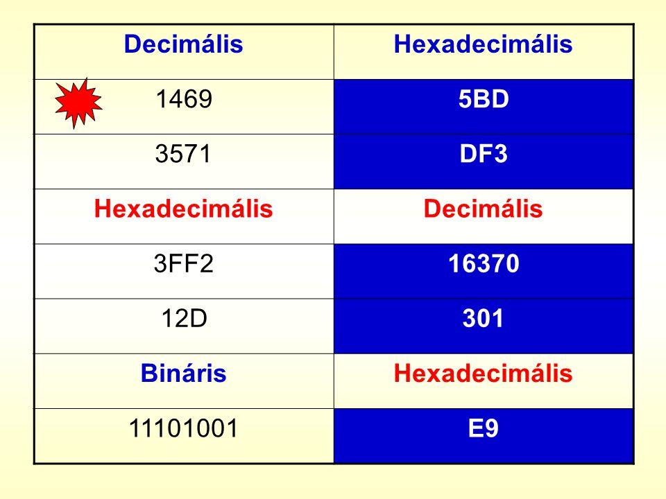 DecimálisHexadecimális 14695BD 3571DF3 HexadecimálisDecimális 3FF216370 12D301 BinárisHexadecimális 11101001E9
