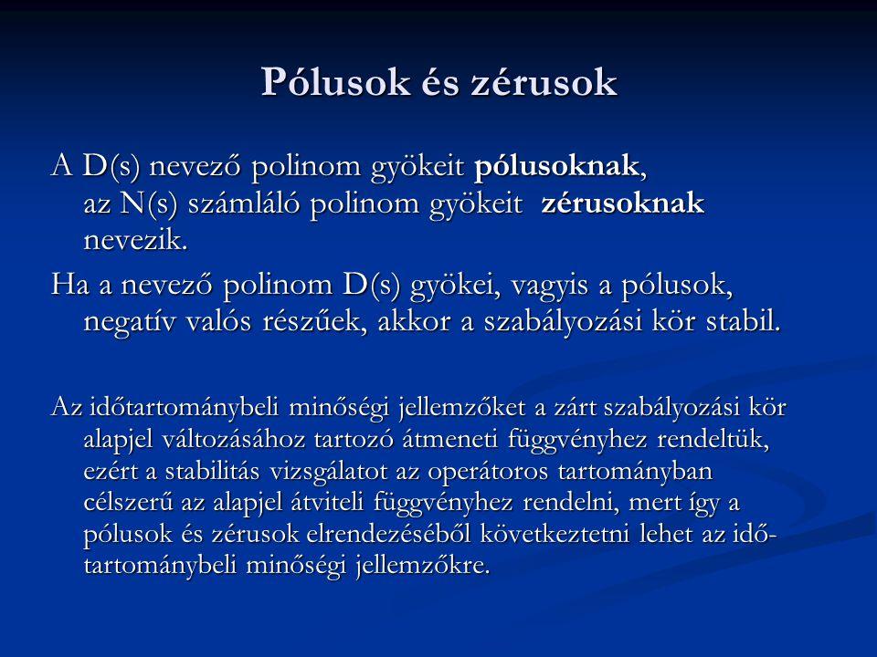 Pólusok és zérusok A D(s) nevező polinom gyökeit pólusoknak, az N(s) számláló polinom gyökeit zérusoknak nevezik.