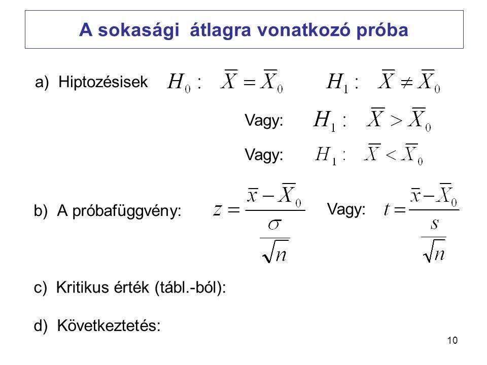 10 A sokasági átlagra vonatkozó próba b) A próbafüggvény: a) Hiptozésisek c) Kritikus érték (tábl.-ból): d) Következtetés: Vagy: