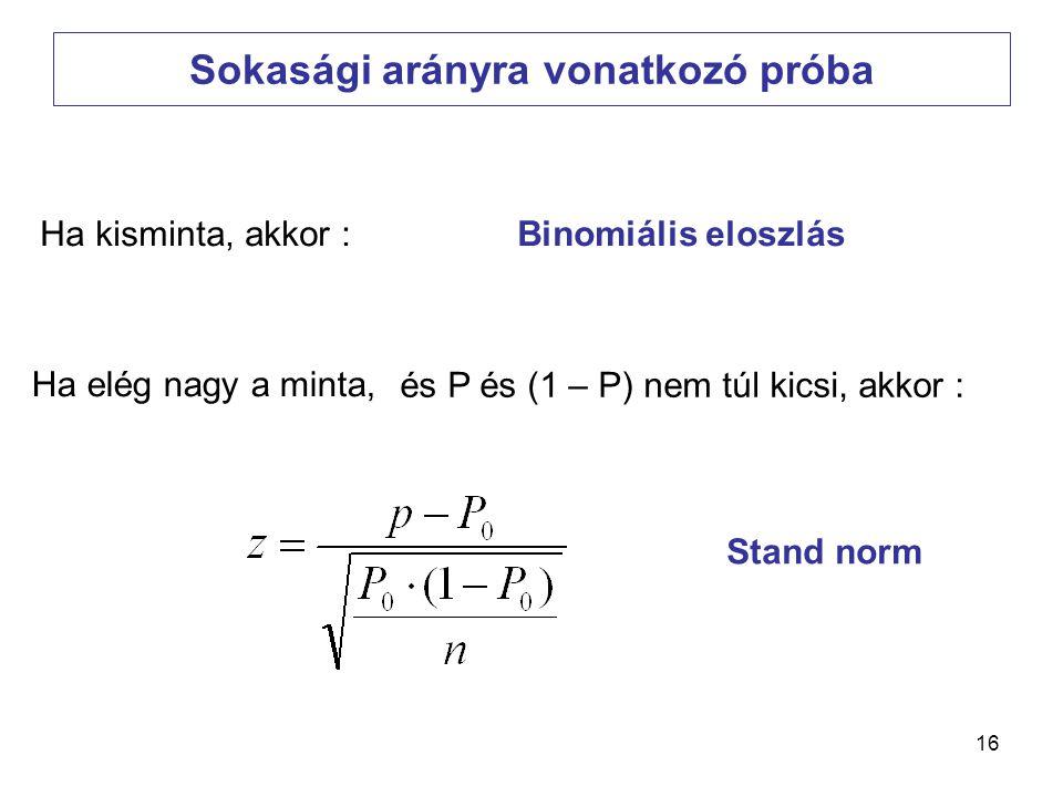 16 Sokasági arányra vonatkozó próba Ha kisminta, akkor :Binomiális eloszlás Ha elég nagy a minta, Stand norm és P és (1 – P) nem túl kicsi, akkor :
