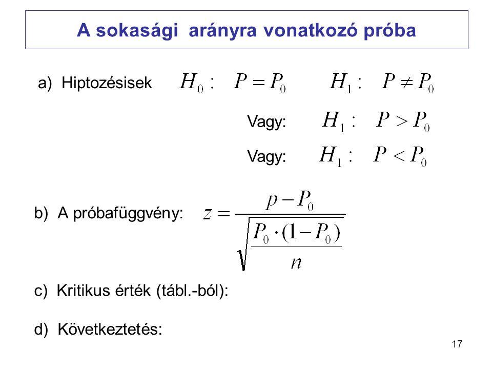 17 A sokasági arányra vonatkozó próba b) A próbafüggvény: a) Hiptozésisek c) Kritikus érték (tábl.-ból): d) Következtetés: Vagy: