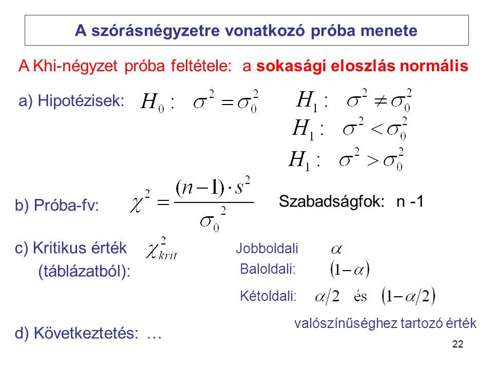 22 A szórásnégyzetre vonatkozó próba menete Szabadságfok: n -1 a) Hipotézisek: b) Próba-fv: c) Kritikus érték d) Következtetés: … A Khi-négyzet próba