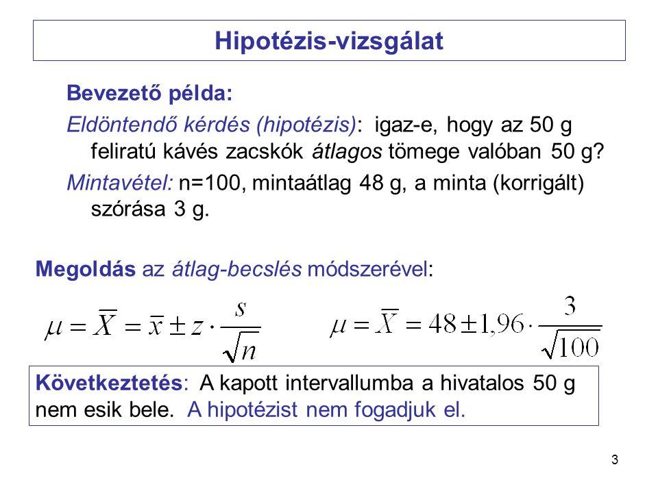 4 1) A hipotézisünk az, hogy a zacskók átlagos tömege 50 g.