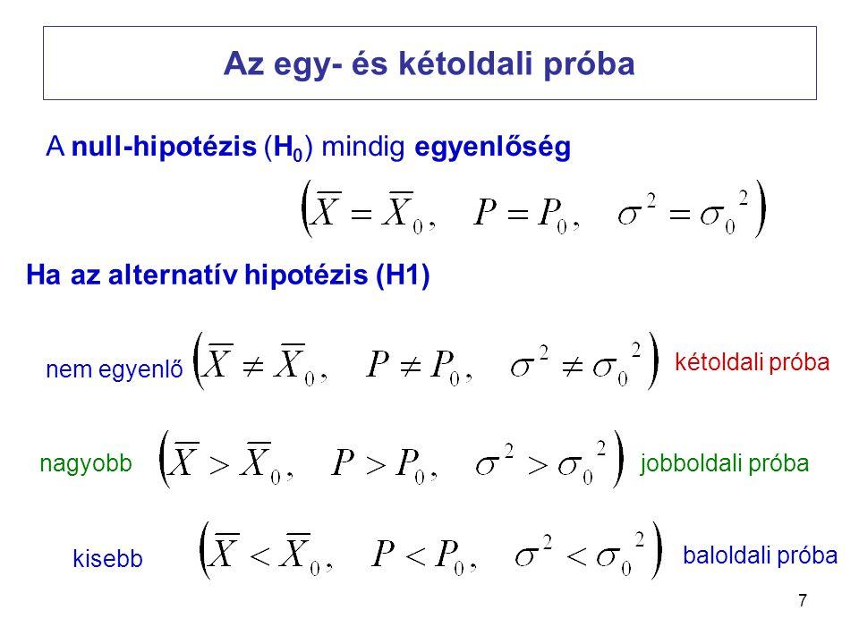 7 Az egy- és kétoldali próba Ha az alternatív hipotézis (H1) kétoldali próba jobboldali próba baloldali próba nagyobb kisebb nem egyenlő A null-hipoté