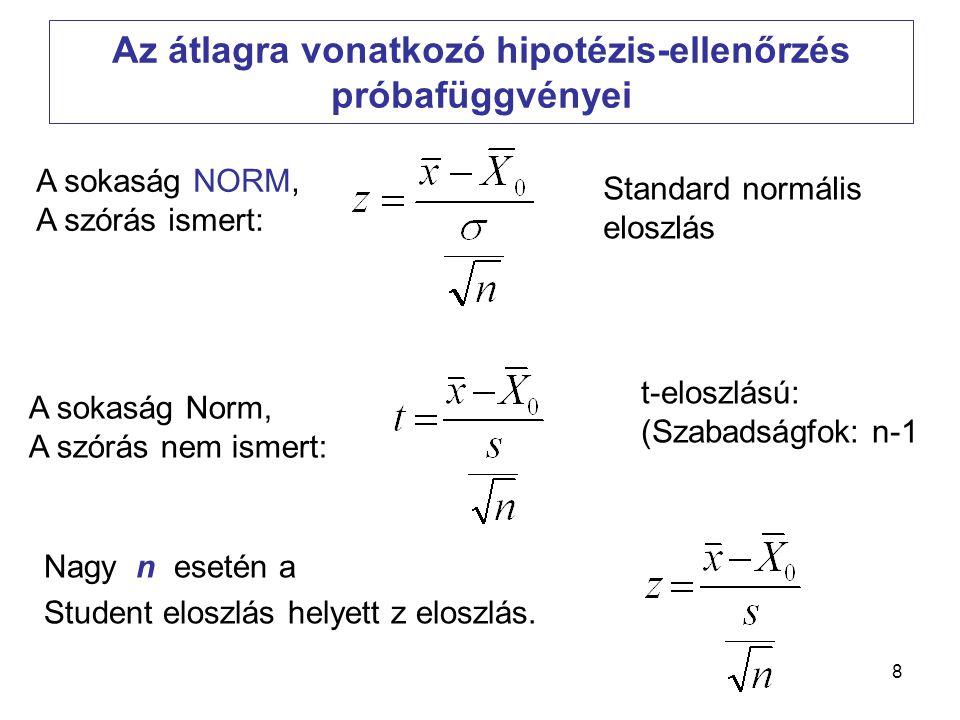 9 A statisztikai próba lépései és általános logikája a)A hipotézisek: H 0 és H 1 felállítása b)Próba-fv megválasztása és kiszámítása c)A kritikus érték(ek) meghatározása, és ezzel az elfogadási és elutasítási tartomány meghatározása adott  szignifikancia-szinten d)Ennek alapján döntés a hipotézisekről.