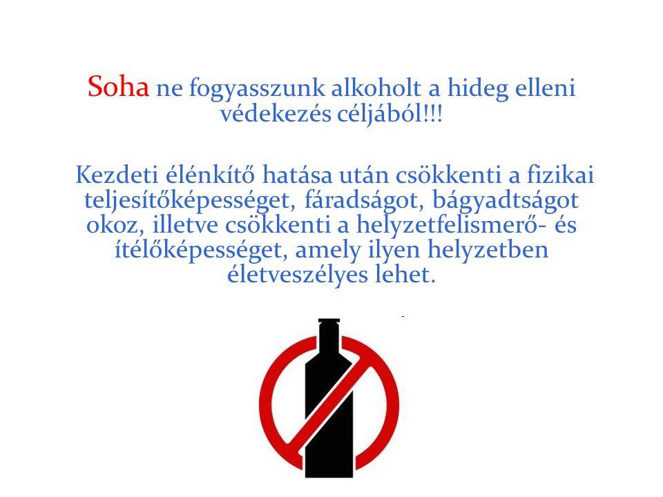 Soha ne fogyasszunk alkoholt a hideg elleni védekezés céljából!!! Kezdeti élénkítő hatása után csökkenti a fizikai teljesítőképességet, fáradságot, bá