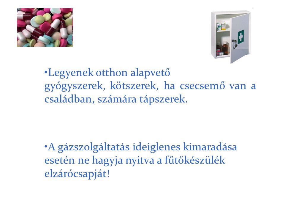 •Legyenek otthon alapvető gyógyszerek, kötszerek, ha csecsemő van a családban, számára tápszerek. •A gázszolgáltatás ideiglenes kimaradása esetén ne h
