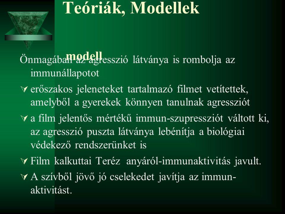 Teóriák, Modellek modell Önmagában az agresszió látványa is rombolja az immunállapotot  erőszakos jeleneteket tartalmazó filmet vetítettek, amelyből