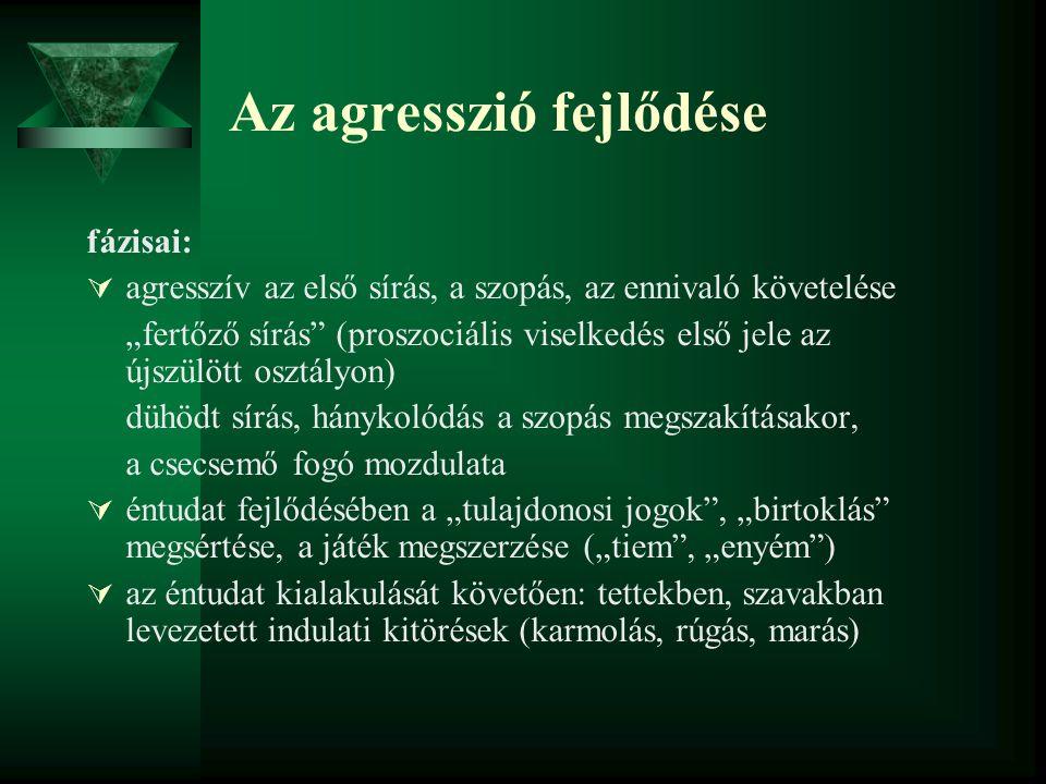 """Az agresszió fejlődése fázisai:  agresszív az első sírás, a szopás, az ennivaló követelése """"fertőző sírás"""" (proszociális viselkedés első jele az újsz"""