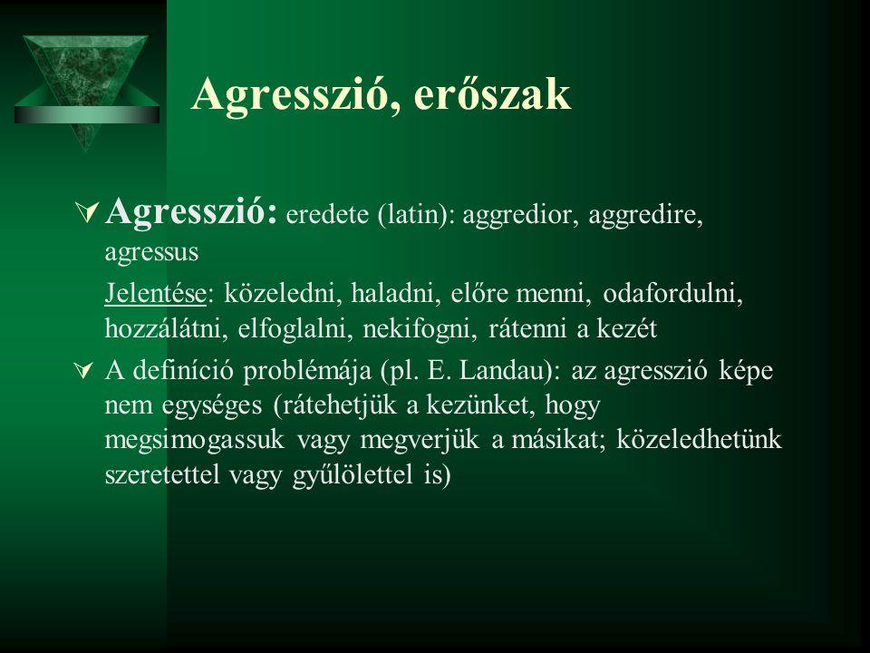 Agresszió, erőszak  Agresszió: eredete (latin): aggredior, aggredire, agressus Jelentése: közeledni, haladni, előre menni, odafordulni, hozzálátni, e