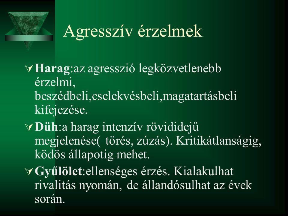 Agresszív érzelmek  Harag:az agresszió legközvetlenebb érzelmi, beszédbeli,cselekvésbeli,magatartásbeli kifejezése.  Düh:a harag intenzív rövididejű