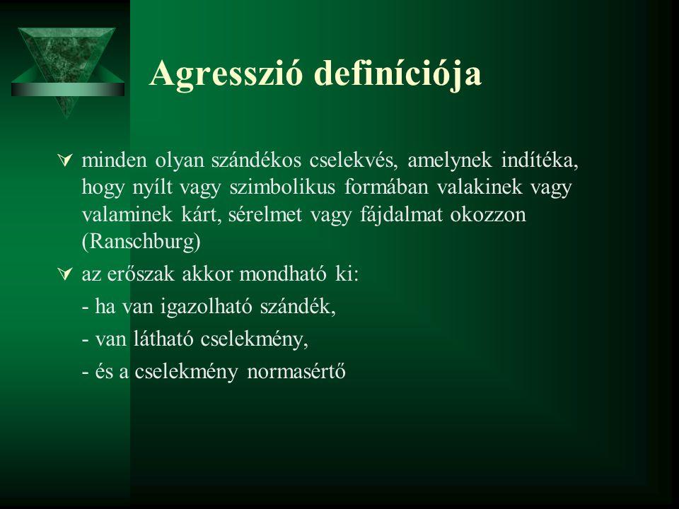 Agresszió definíciója  minden olyan szándékos cselekvés, amelynek indítéka, hogy nyílt vagy szimbolikus formában valakinek vagy valaminek kárt, sérel