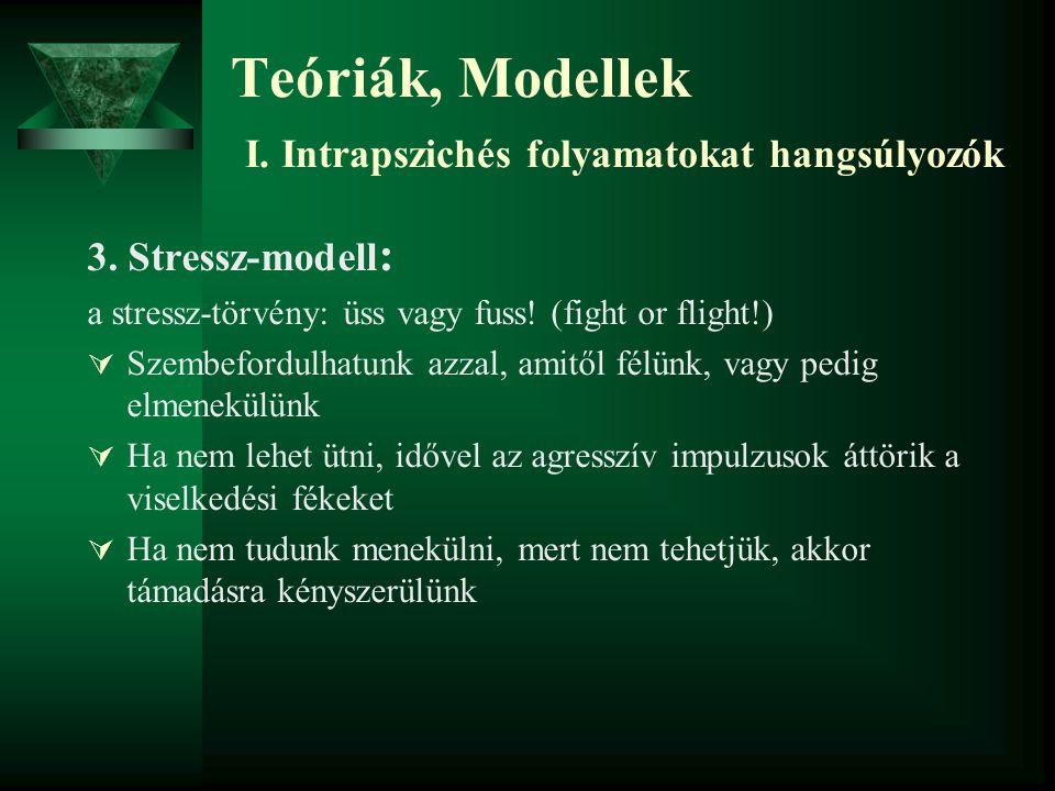 3. Stressz-modell : a stressz-törvény: üss vagy fuss! (fight or flight!)  Szembefordulhatunk azzal, amitől félünk, vagy pedig elmenekülünk  Ha nem l