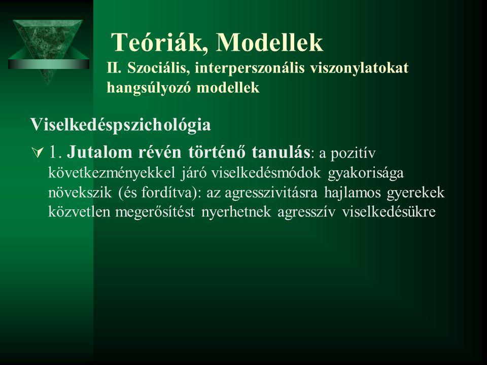 Teóriák, Modellek II. Szociális, interperszonális viszonylatokat hangsúlyozó modellek Viselkedéspszichológia  1. Jutalom révén történő tanulás : a po