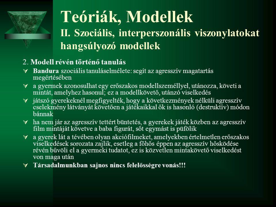 Teóriák, Modellek II. Szociális, interperszonális viszonylatokat hangsúlyozó modellek 2. Modell révén történő tanulás  Bandura szociális tanuláselmél