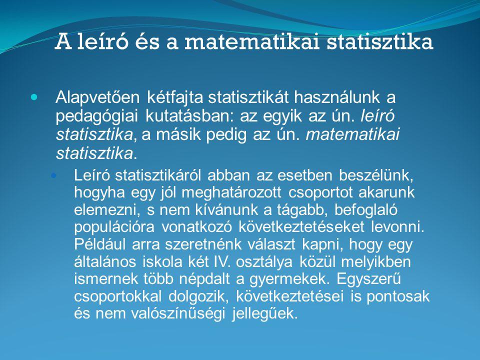 A leíró és a matematikai statisztika  A matematikai statisztikát akkor alkalmazzuk, amikor egy mintáról úgy kívánunk következtetést megfogalmazni, hogy az a tágabb populációra is érvényes legyen, vagyis az ilyen becsléseink nem pontosak, hanem valószínűségi jellegűek.