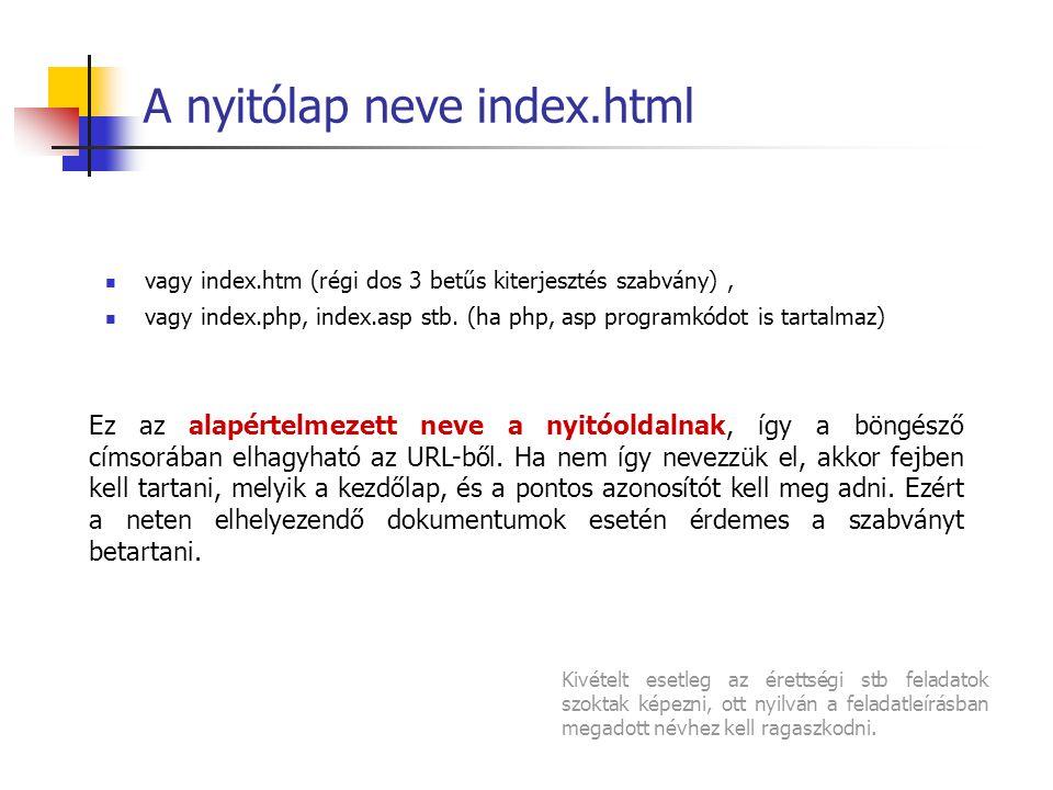 A nyitólap neve index.html Ez az alapértelmezett neve a nyitóoldalnak, így a böngésző címsorában elhagyható az URL-ből.
