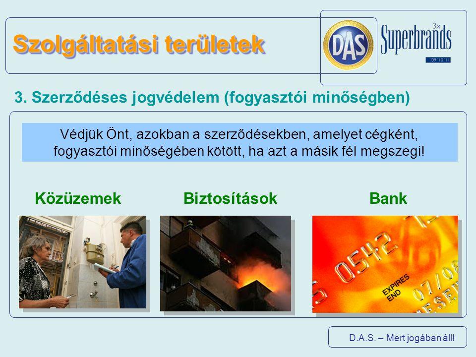 D.A.S. – Mert jogában áll! 3. Szerződéses jogvédelem (fogyasztói minőségben) Védjük Önt, azokban a szerződésekben, amelyet cégként, fogyasztói minőség