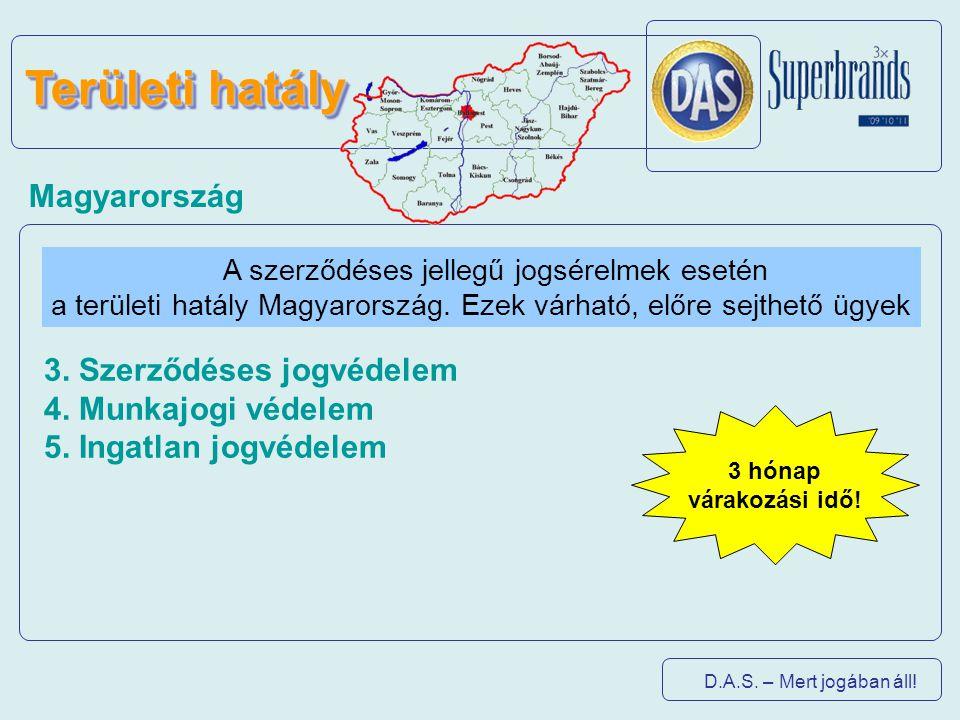 D.A.S. – Mert jogában áll! Területi hatály A szerződéses jellegű jogsérelmek esetén a területi hatály Magyarország. Ezek várható, előre sejthető ügyek