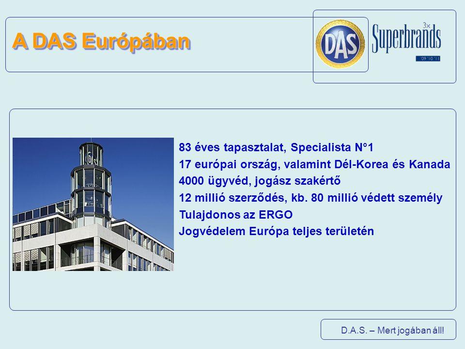 D.A.S. – Mert jogában áll! 83 éves tapasztalat, Specialista N°1 17 európai ország, valamint Dél-Korea és Kanada 4000 ügyvéd, jogász szakértő 12 millió