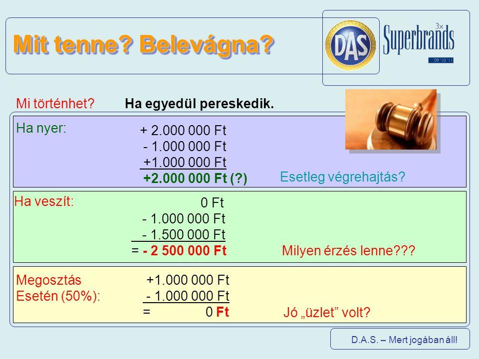 D.A.S. – Mert jogában áll! Mi történhet? + 2.000 000 Ft - 1.000 000 Ft +1.000 000 Ft +2.000 000 Ft (?) 0 Ft - 1.000 000 Ft - 1.500 000 Ft = - 2 500 00