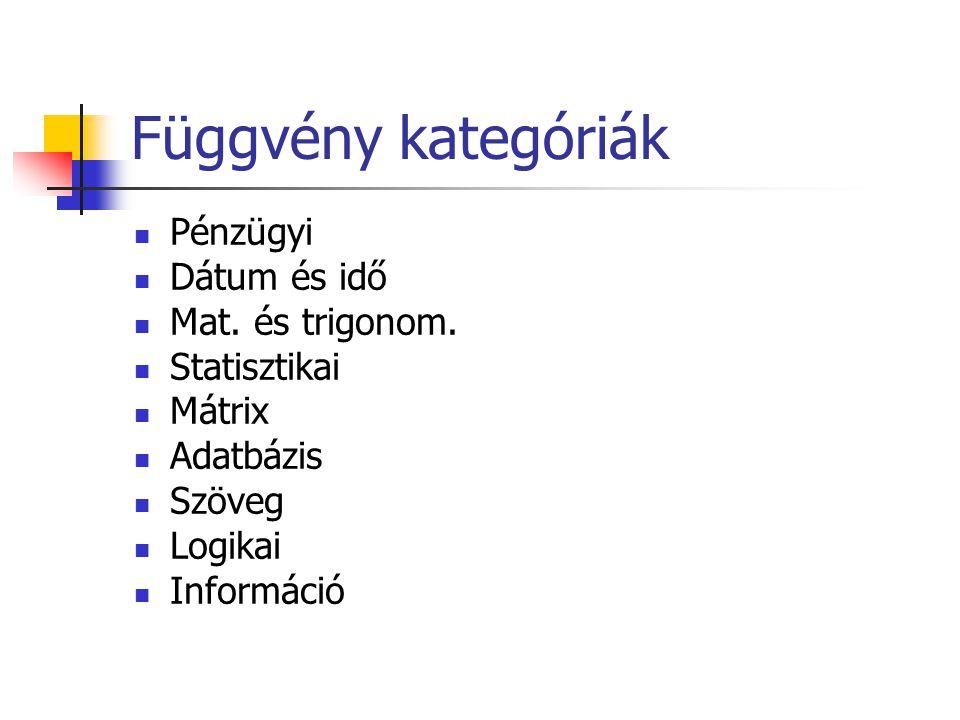 Függvény kategóriák  Pénzügyi  Dátum és idő  Mat. és trigonom.  Statisztikai  Mátrix  Adatbázis  Szöveg  Logikai  Információ