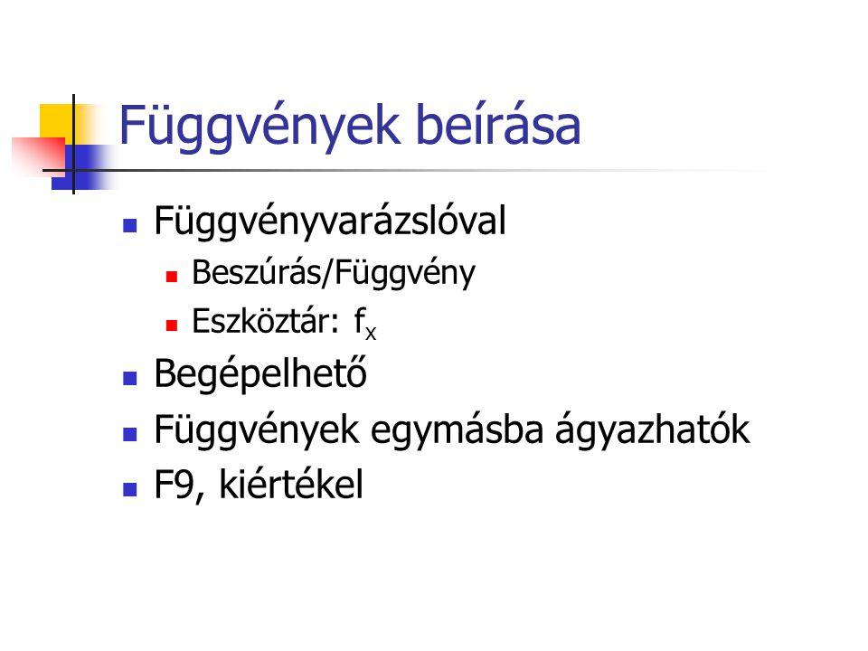 Függvények beírása  Függvényvarázslóval  Beszúrás/Függvény  Eszköztár: f x  Begépelhető  Függvények egymásba ágyazhatók  F9, kiértékel