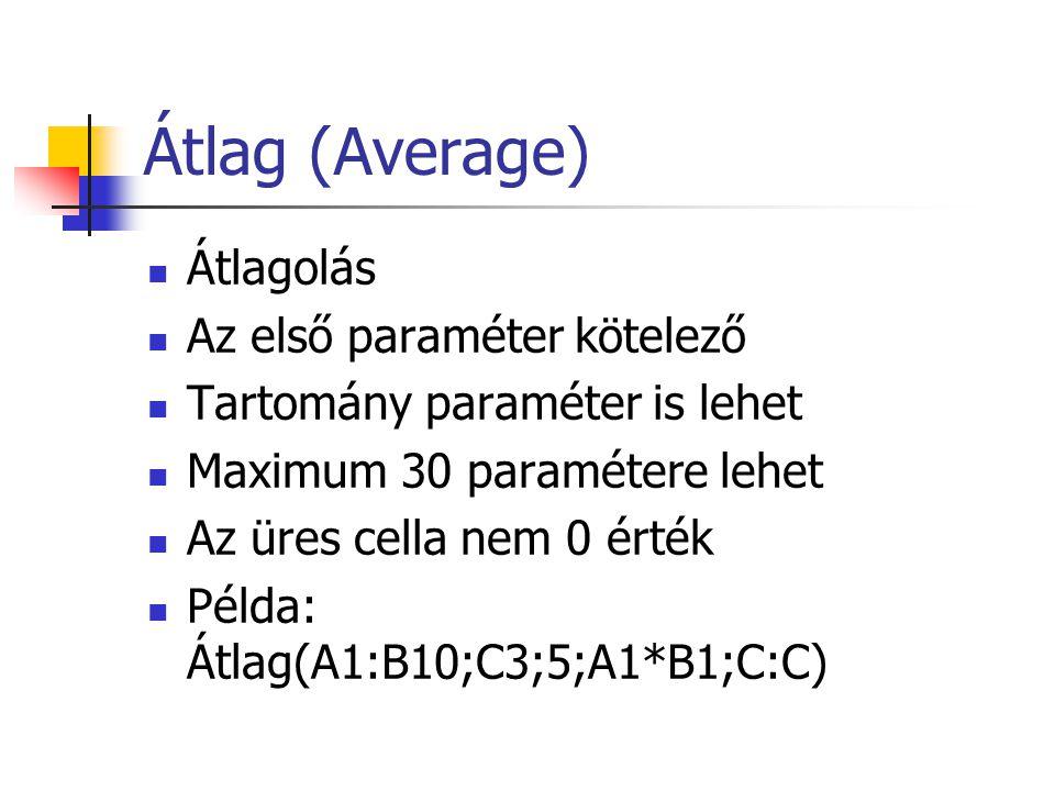 Átlag (Average)  Átlagolás  Az első paraméter kötelező  Tartomány paraméter is lehet  Maximum 30 paramétere lehet  Az üres cella nem 0 érték  Példa: Átlag(A1:B10;C3;5;A1*B1;C:C)