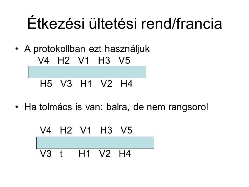 Étkezési ültetési rend/francia •A protokollban ezt használjuk V4 H2 V1 H3 V5 H5 V3 H1 V2 H4 •Ha tolmács is van: balra, de nem rangsorol V4 H2 V1 H3 V5