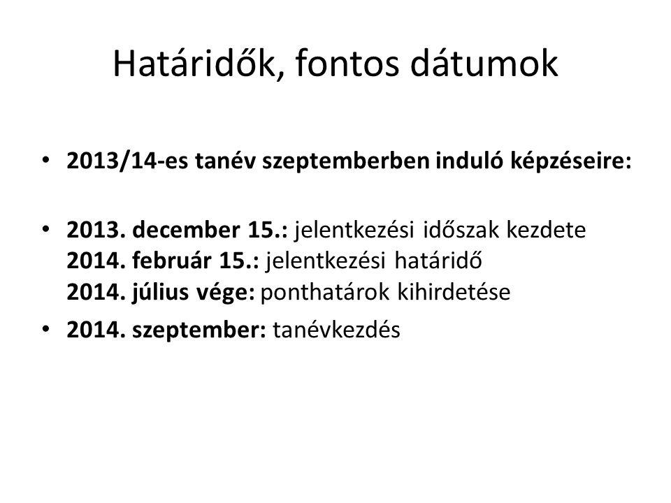 Határidők, fontos dátumok • 2013/14-es tanév szeptemberben induló képzéseire: • 2013. december 15.: jelentkezési időszak kezdete 2014. február 15.: je