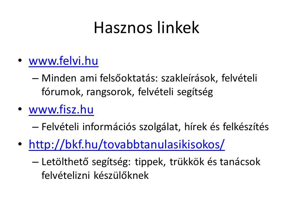 Hasznos linkek • www.felvi.hu www.felvi.hu – Minden ami felsőoktatás: szakleírások, felvételi fórumok, rangsorok, felvételi segítség • www.fisz.hu www