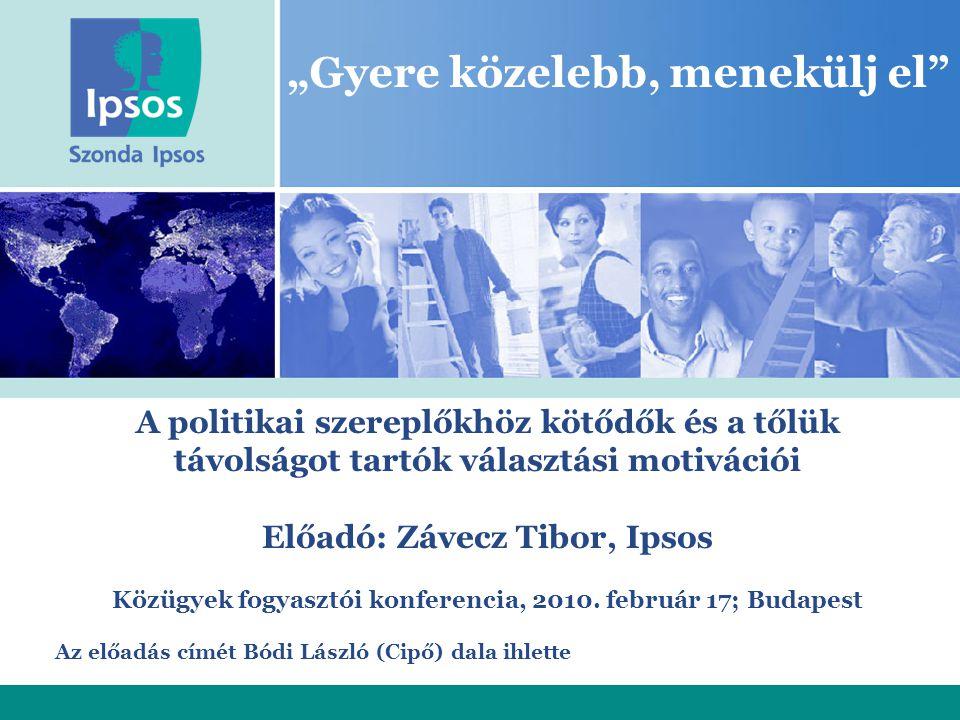 """""""Gyere közelebb, menekülj el A politikai szereplőkhöz kötődők és a tőlük távolságot tartók választási motivációi Előadó: Závecz Tibor, Ipsos Közügyek fogyasztói konferencia, 2010."""