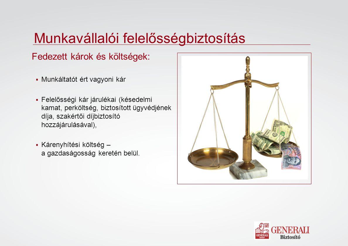  Munkáltatót ért vagyoni kár  Felelősségi kár járulékai (késedelmi kamat, perköltség, biztosított ügyvédjének díja, szakértői díjbiztosító hozzájáru