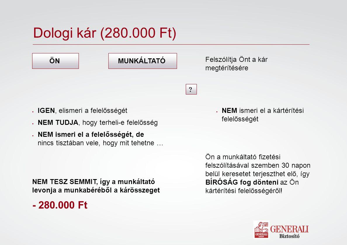 Bíróság 150 000 kárigény ÖNMUNKÁLTATÓ 280 000 Ft Bíróság I.