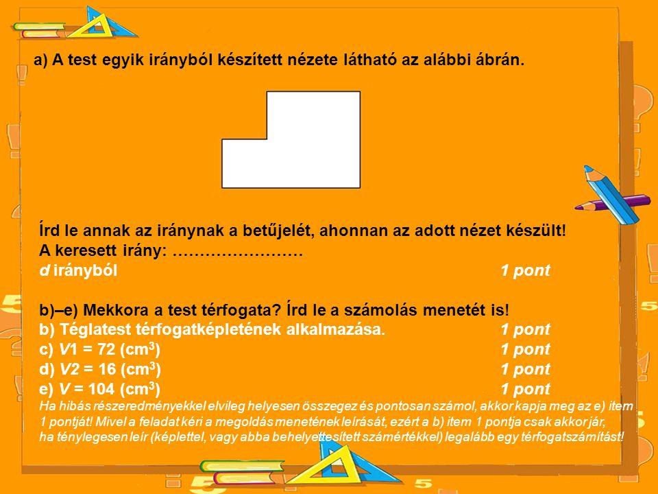 a) A test egyik irányból készített nézete látható az alábbi ábrán. Írd le annak az iránynak a betűjelét, ahonnan az adott nézet készült! A keresett ir