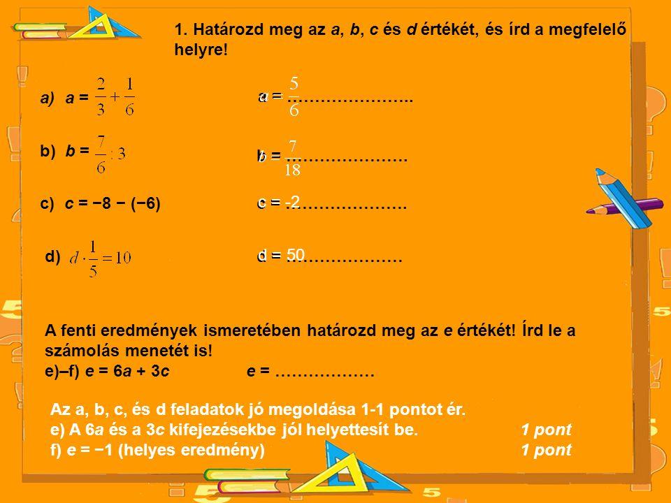 1. Határozd meg az a, b, c és d értékét, és írd a megfelelő helyre! a)a = a = ………………….. b) b = b = …………………. c) c = −8 − (−6)c = …………………. d)d = …………………