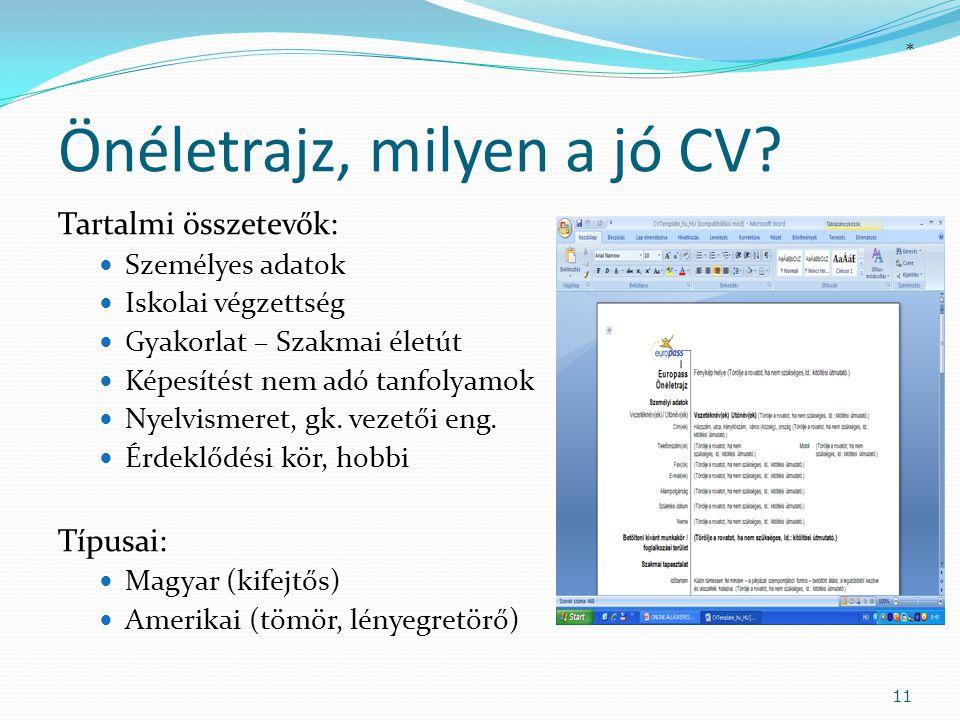 Önéletrajz, milyen a jó CV? Tartalmi összetevők:  Személyes adatok  Iskolai végzettség  Gyakorlat – Szakmai életút  Képesítést nem adó tanfolyamok