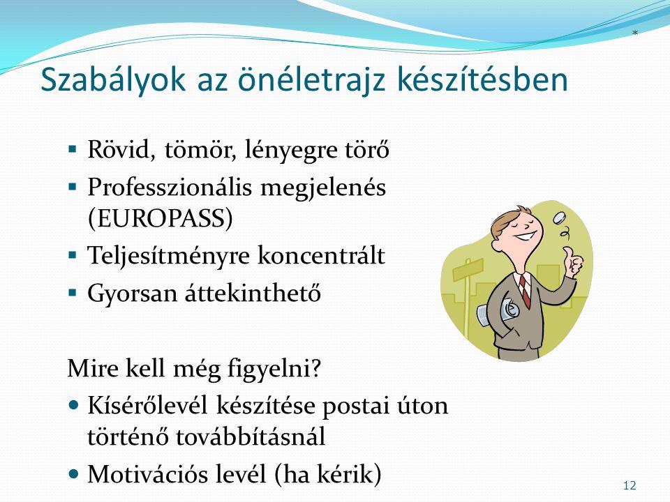 Szabályok az önéletrajz készítésben  Rövid, tömör, lényegre törő  Professzionális megjelenés (EUROPASS)  Teljesítményre koncentrált  Gyorsan áttek