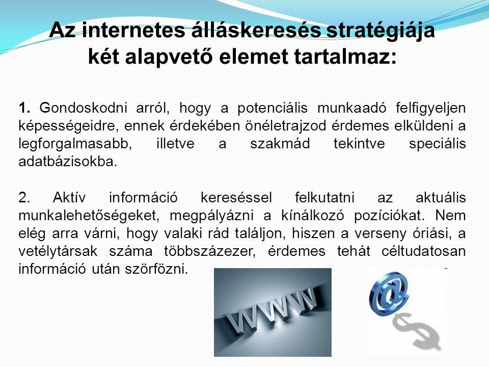 Az internetes álláskeresés stratégiája két alapvető elemet tartalmaz: 1. Gondoskodni arról, hogy a potenciális munkaadó felfigyeljen képességeidre, en