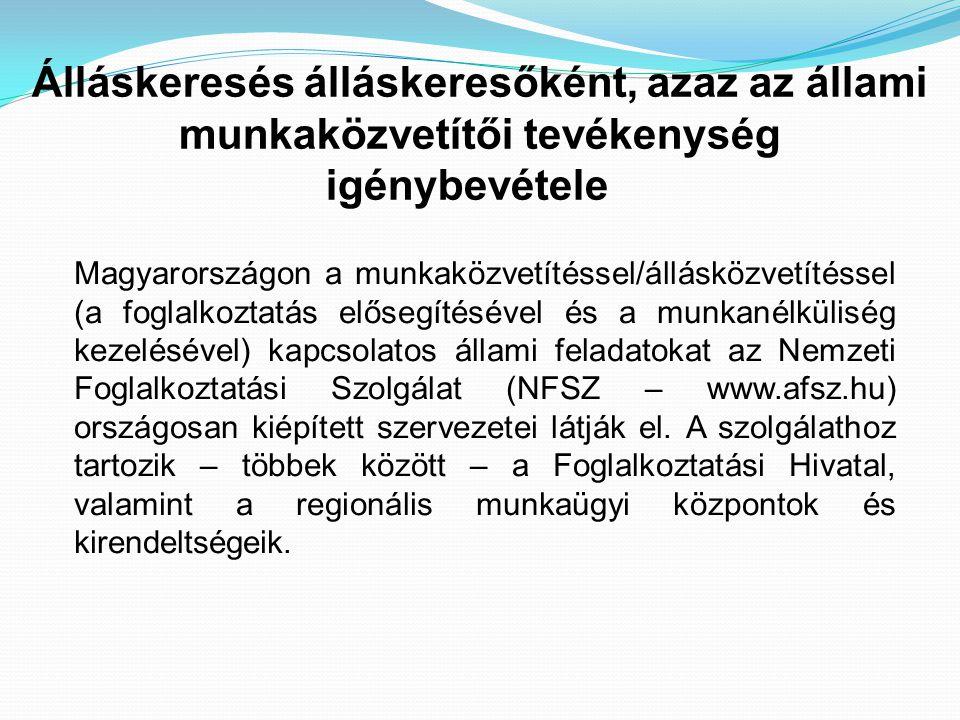 Álláskeresés álláskeresőként, azaz az állami munkaközvetítői tevékenység igénybevétele Magyarországon a munkaközvetítéssel/állásközvetítéssel (a fogla