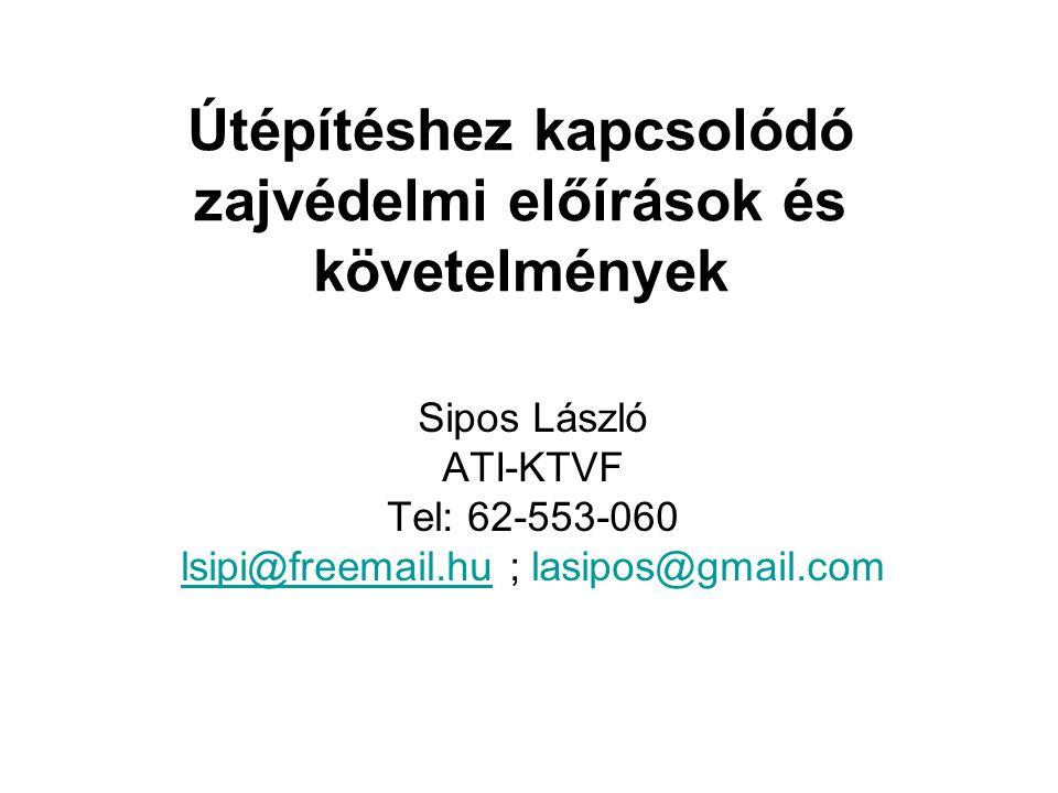 Útépítéshez kapcsolódó zajvédelmi előírások és követelmények Sipos László ATI-KTVF Tel: 62-553-060 lsipi@freemail.hulsipi@freemail.hu ; lasipos@gmail.
