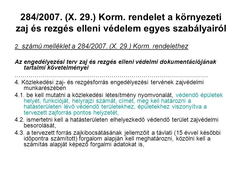 284/2007. (X. 29.) Korm. rendelet a környezeti zaj és rezgés elleni védelem egyes szabályairól 2. számú melléklet a 284/2007. (X. 29.) Korm. rendeleth