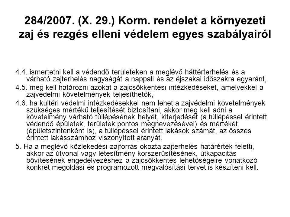 284/2007. (X. 29.) Korm. rendelet a környezeti zaj és rezgés elleni védelem egyes szabályairól 4.4. ismertetni kell a védendő területeken a meglévő há