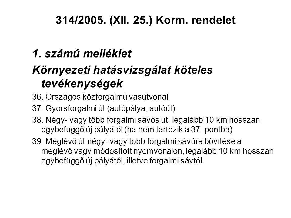 314/2005. (XII. 25.) Korm. rendelet 1. számú melléklet Környezeti hatásvizsgálat köteles tevékenységek 36. Országos közforgalmú vasútvonal 37. Gyorsfo