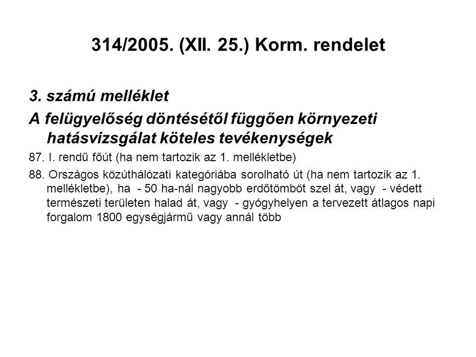 314/2005. (XII. 25.) Korm. rendelet 3. számú melléklet A felügyelőség döntésétől függően környezeti hatásvizsgálat köteles tevékenységek 87. I. rendű