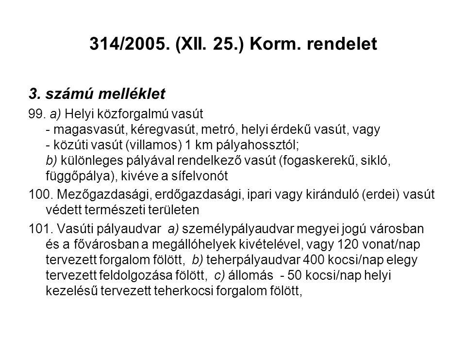 314/2005. (XII. 25.) Korm. rendelet 3. számú melléklet 99. a) Helyi közforgalmú vasút - magasvasút, kéregvasút, metró, helyi érdekű vasút, vagy - közú