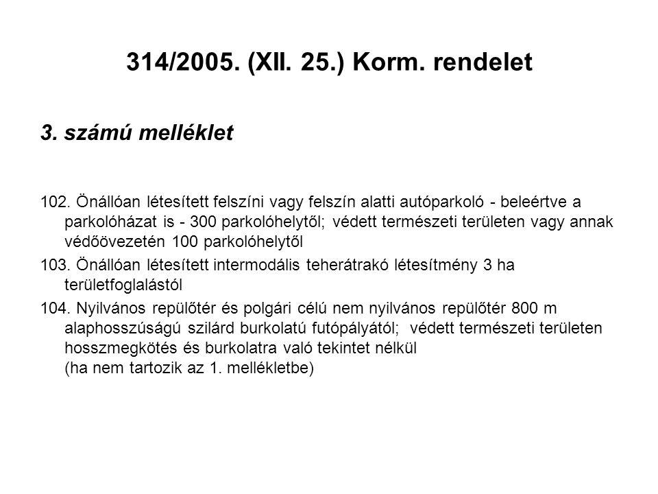 314/2005. (XII. 25.) Korm. rendelet 3. számú melléklet 102. Önállóan létesített felszíni vagy felszín alatti autóparkoló - beleértve a parkolóházat is
