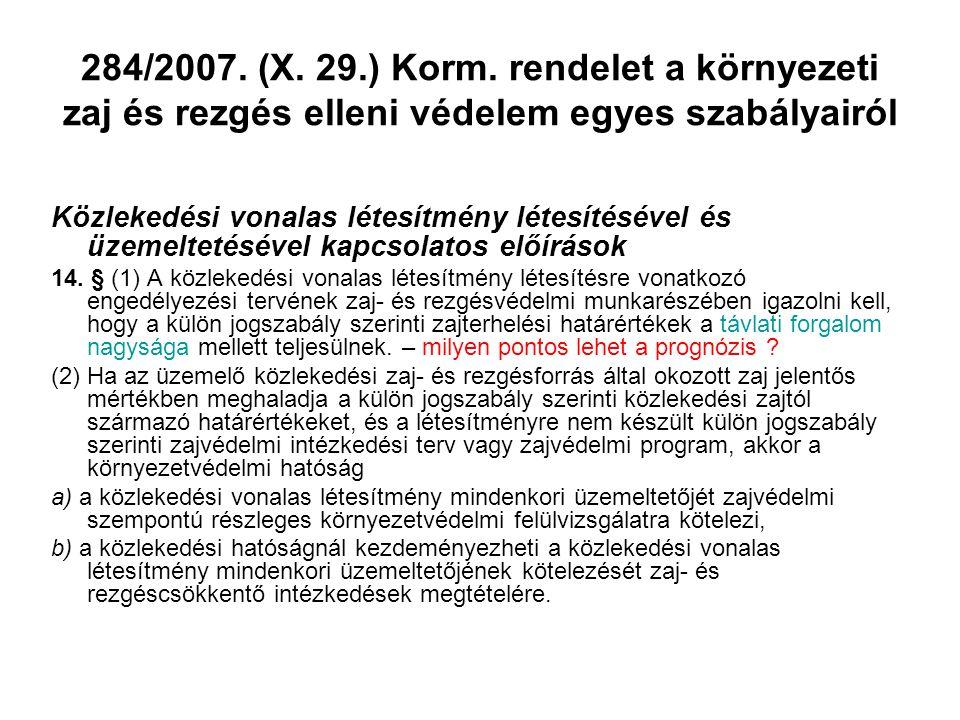 284/2007. (X. 29.) Korm. rendelet a környezeti zaj és rezgés elleni védelem egyes szabályairól Közlekedési vonalas létesítmény létesítésével és üzemel