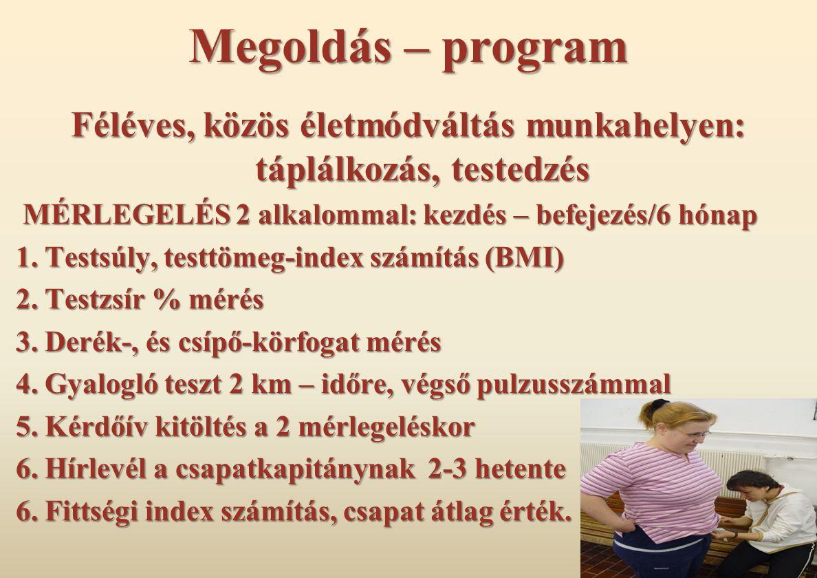 Megoldás – program Féléves, közös életmódváltás munkahelyen: táplálkozás, testedzés MÉRLEGELÉS 2 alkalommal: kezdés – befejezés/6 hónap MÉRLEGELÉS 2 alkalommal: kezdés – befejezés/6 hónap 1.
