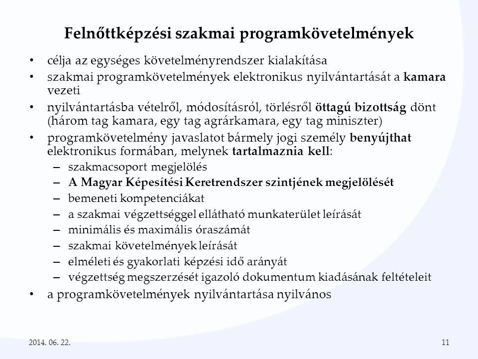 Felnőttképzési szakmai programkövetelmények • célja az egységes követelményrendszer kialakítása • szakmai programkövetelmények elektronikus nyilvántar